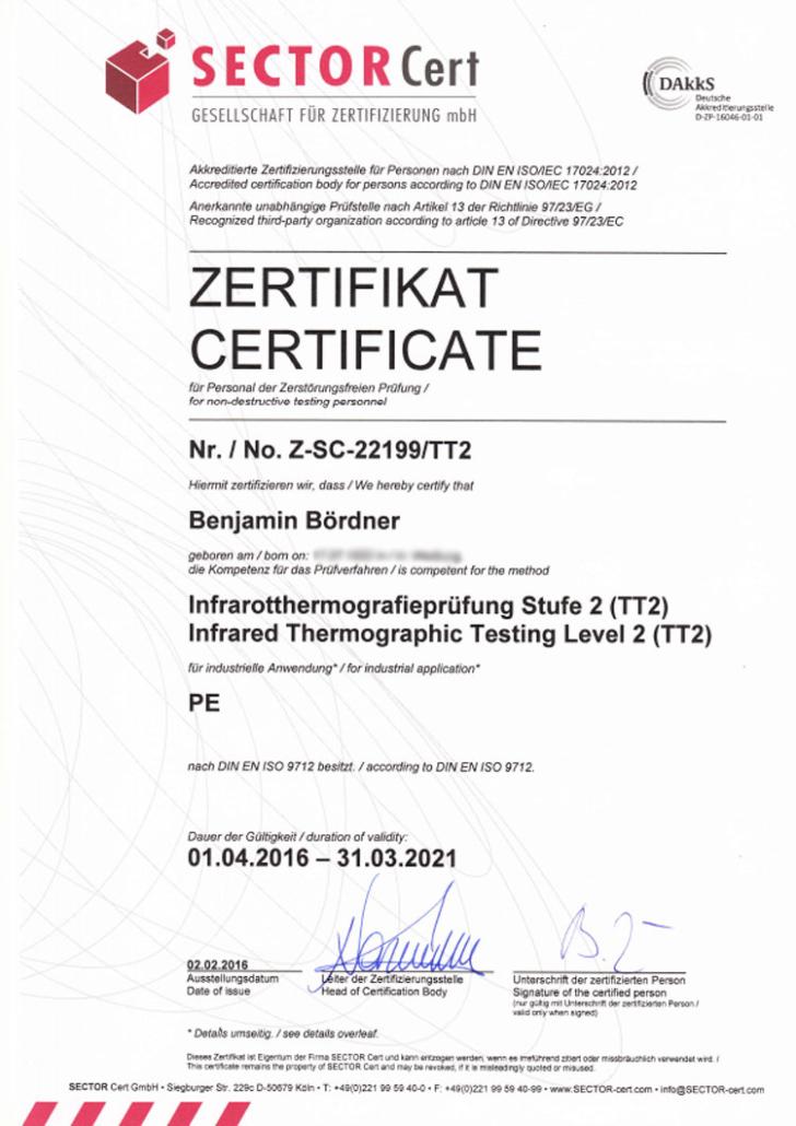 TT2-Sector-Infrarotthermografieprüfung Stufe 2