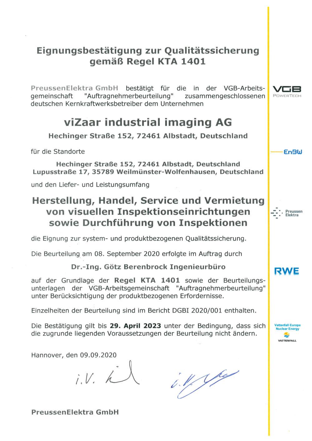 KTA-1401 Zertifikat viZaar